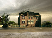Flooding house — Stock Photo