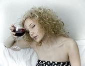 Wine and girl — Stock Photo