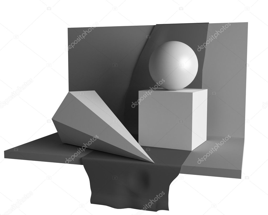 Educationary geometry still life image (3D)  Stock Photo #3463067