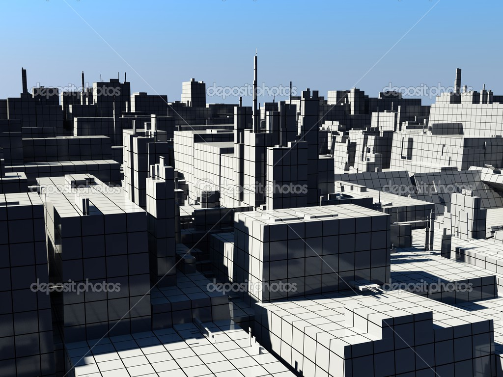 The city landscape (3D rendering) — Stock Photo #3463199