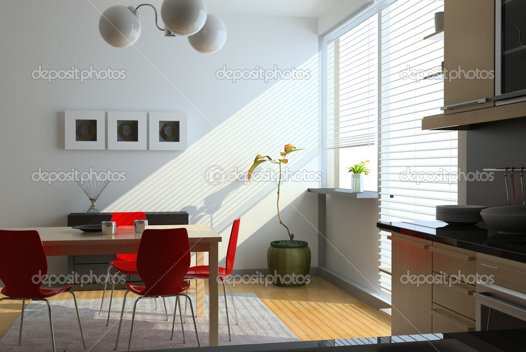 Modern kitchen interior (computer generated image)  Stock Photo #3463484