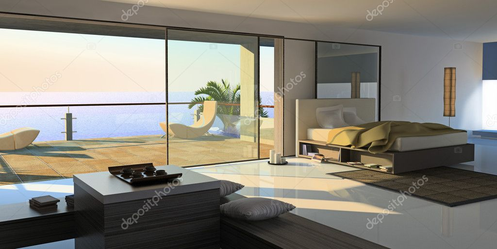 Modern open interior (3D rendering)  Stock Photo #3463656