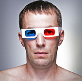 Man head with 3D glasses — Stock Photo