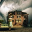 Tornado and little girl - Stock Photo