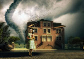 Tornado and little girl — Stock Photo