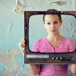 Woman in tv frame — Stock Photo