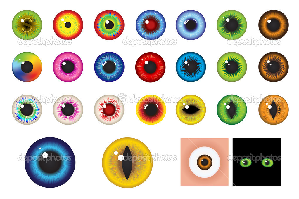 Multicolored Eyes, Iris and Pupil - Elements for design  Stock Vector #2715589