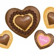 Chocolate Cookies (Hearts shape) - Stock Vector