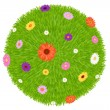 Grass Ball With Colourful Flowers — Stock Vector #2828221