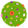 Grass Ball With Colourful Flowers — Stock Vector