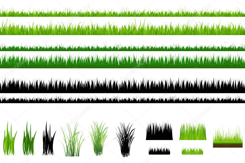 Set Of Grass, Green and Outline, Isolated On White — Stock Vector #2873422