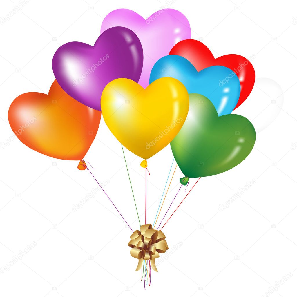 Bunch Of Colorful Heart Shape Balloons, Isolated On White  Stock Vector #2875027