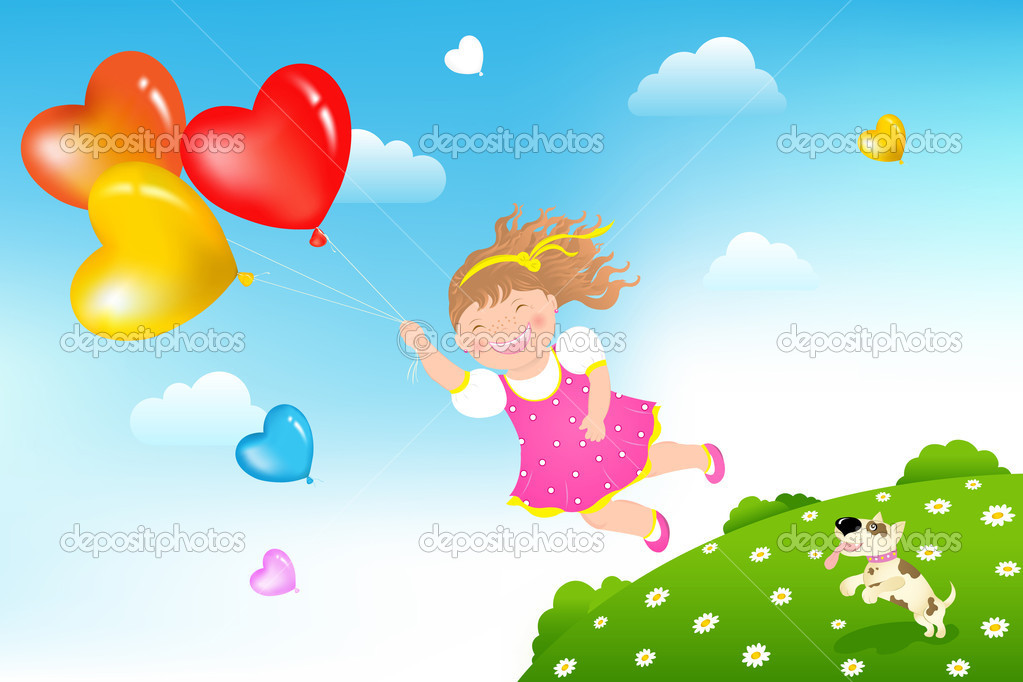 Smiling Girl flying on colorful balloons above green grass hill and her dog  Stock Vector #2899693