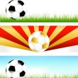 Banners With Soccer Balls — Stock Vector