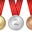 Stock Vector: Three Medals