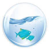 Balls With Blue Fishes In Water — Stock Vector