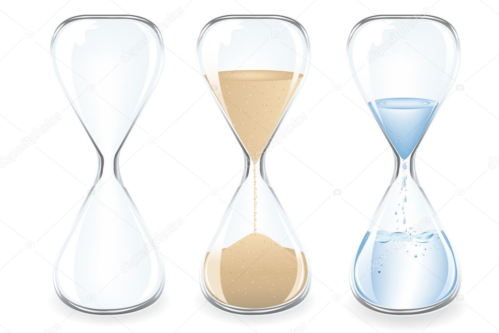 Sand, Water and Empty Clocks, Isolated On White — Stock Vector #2997274