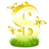 Golden Dollar Sign With Leaves In Grass — Stock Vector