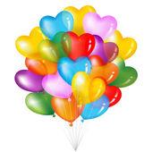 一堆五颜六色的心形状气球 — 图库矢量图片