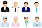 Aircraft Crew Icons — Stock Vector