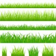4 backgrounds of green grass — Imagens vectoriais em stock