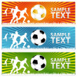 3 Soccer ball  or Football banners — Stock Vector