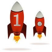 Starting Red Rockets — Stock Vector