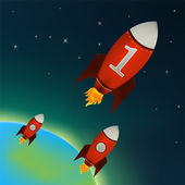 Foguetes vermelhos voando no espaço sideral — Vetor de Stock