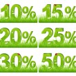 Green Discount Figures In Grass — Stock Vector
