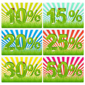 Discount Cards With Green Figures — Stock Vector