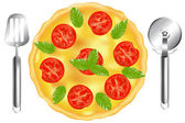 Italian Pizza With Spatula And Cutter — Stock Vector