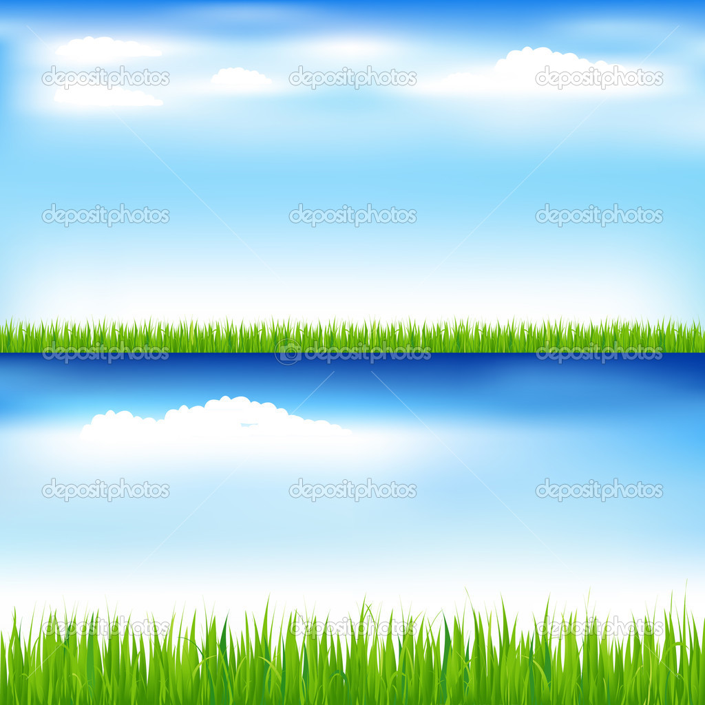 2 Beautiful Landscapes With Green Grass And Blue Sky With Clouds — Stock Vector #3555577