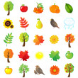 Autumn Symbols And Elements — Stock Vector