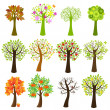 Collection Of Trees — Vector de stock #3733284