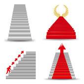 4 escaleras, aislados sobre fondo blanco, ilustración de vectores — Vector de stock