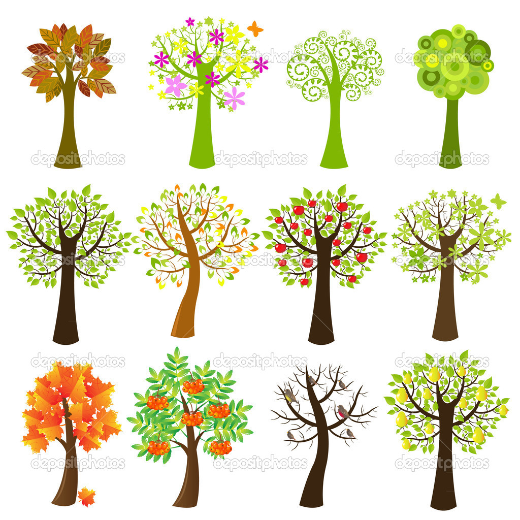 Collection Of Trees, Isolated On White Background, Vector Illustration — Stock Vector #3733284