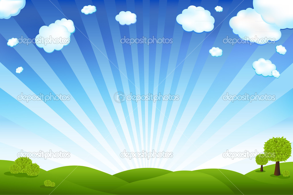 Beautiful Landscape With Trees And Clouds, Vector Illustration — Stock Vector #3742283