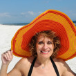 Royalty-Free Stock Photo: Attractive Woman wearing Summer Hat