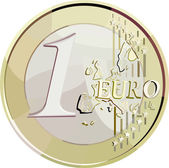 Vector 1 euro coin. — Stock Vector
