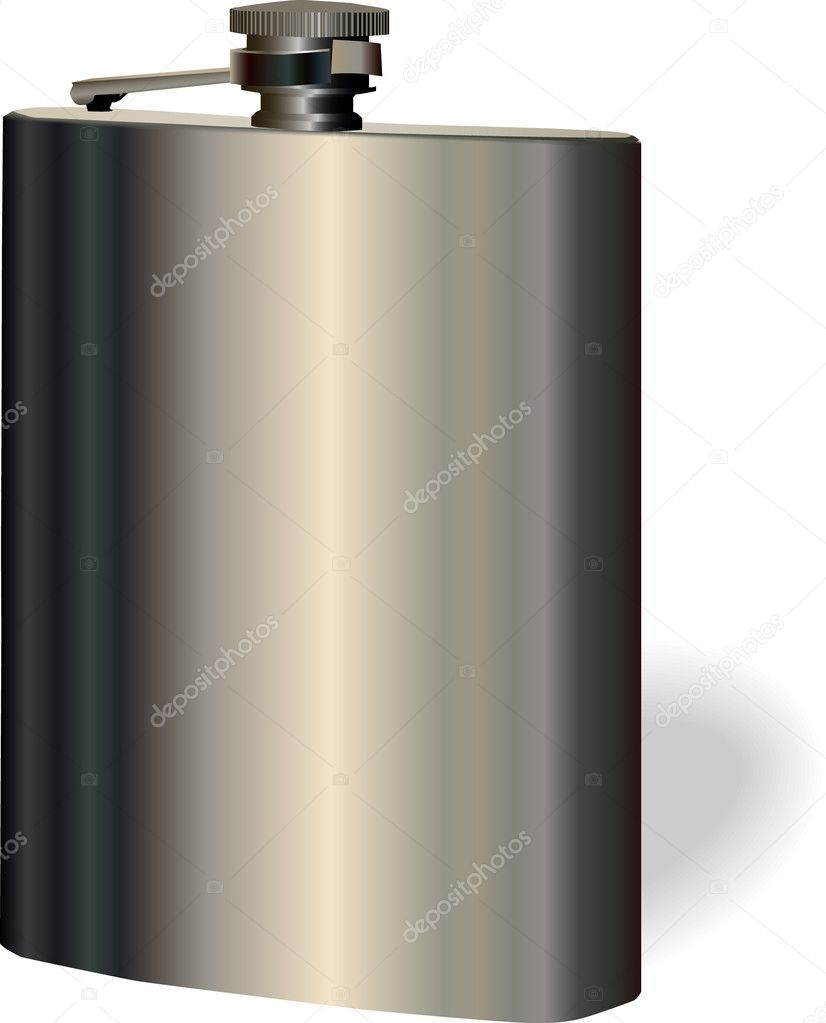 Vector single hip flask on white background. Used gradients. — Stock Vector #3588154