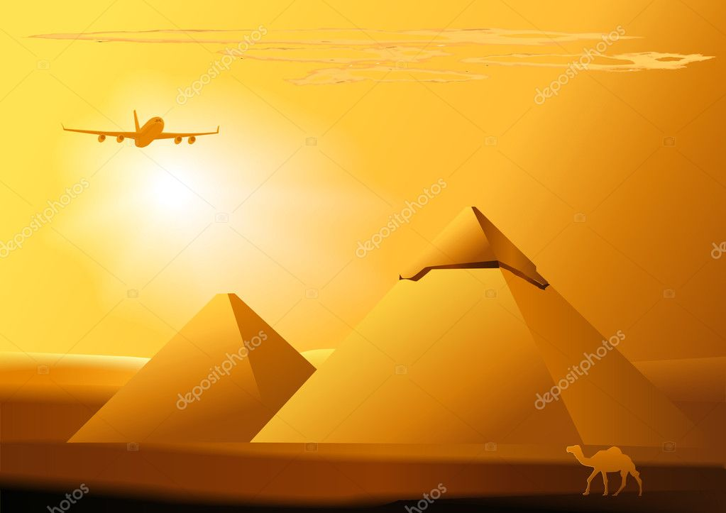 Vector desert,camel,jet, piramid. Used gradients and blends. — Stock Vector #3590698