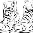 Stock Vector: Vector tattoo style boots.