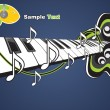 Illustration of a piano and music notes — Imagen vectorial