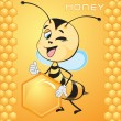 Bee with honeycombs - Stock Vector