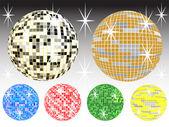 Six mirror balls — Stock Vector