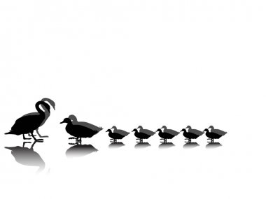 Duck family silhouette