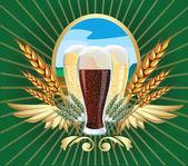 Vector illustration of barley beer label — Stock Vector