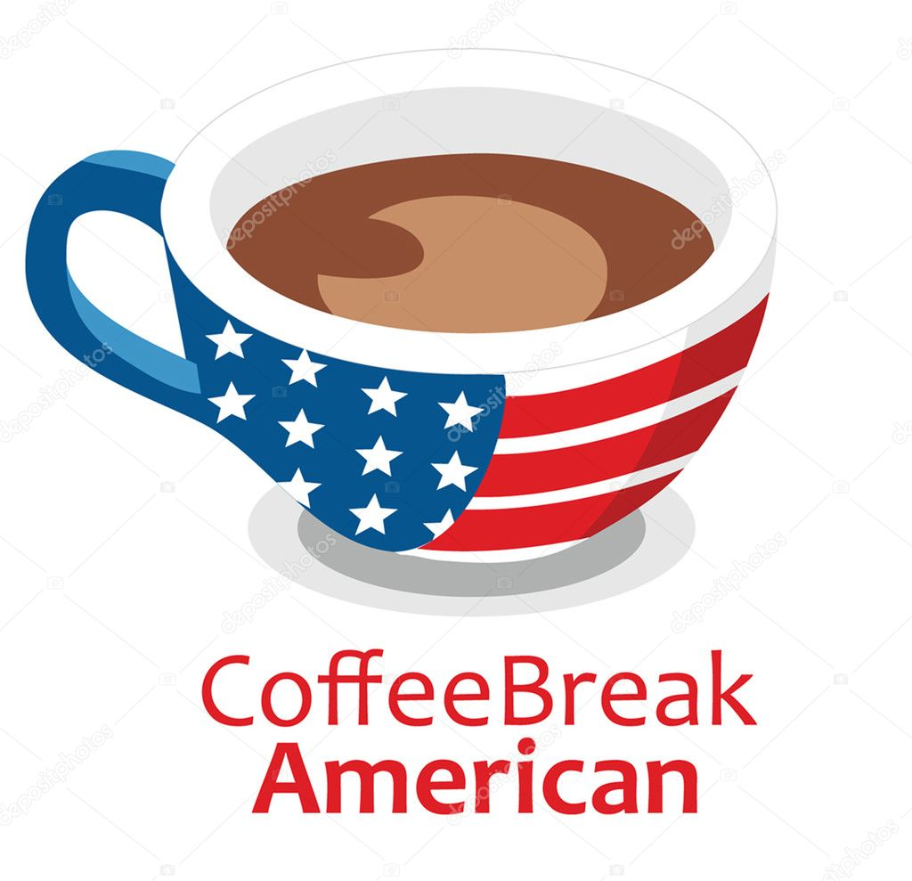 Cup of coffee with American symbols — Stock Vector #3197178