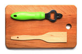 Hardboard, trowel, opener the top view — Stock Photo