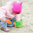 Little Baby Playing with Sand - Stock Photo